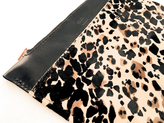 Morgan + Wells 'The Zedel' leopard print clutch // leopard handbag // Made in Yorkshire // Gifts for her //hair on leather bag //