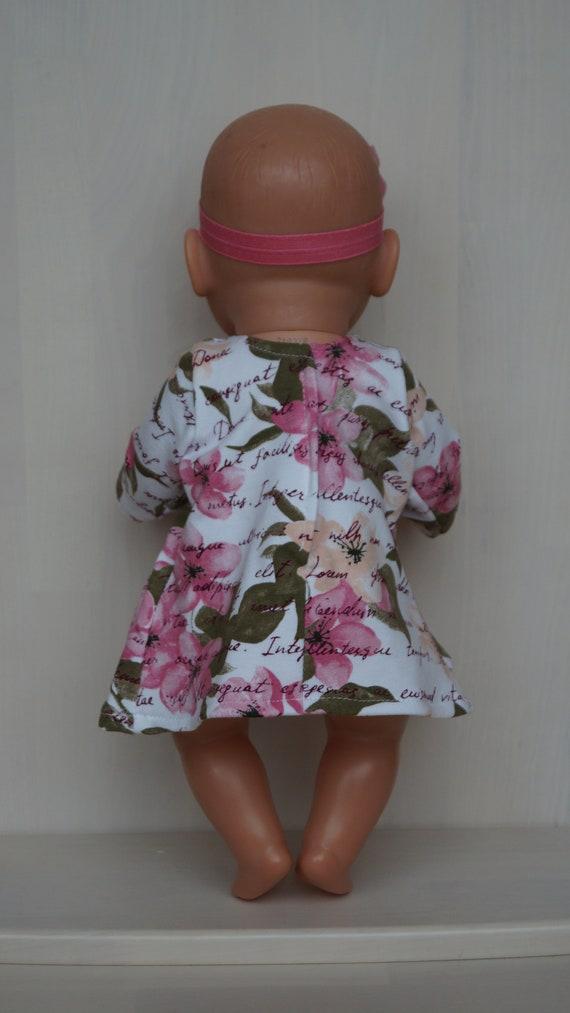 Flowerful, Pastellfarben Kleid und Stirnband für Baby Born, Baby Born Schwester oder Puppe bis 43cm, Baby Born Puppenkleid, puppenkleidung