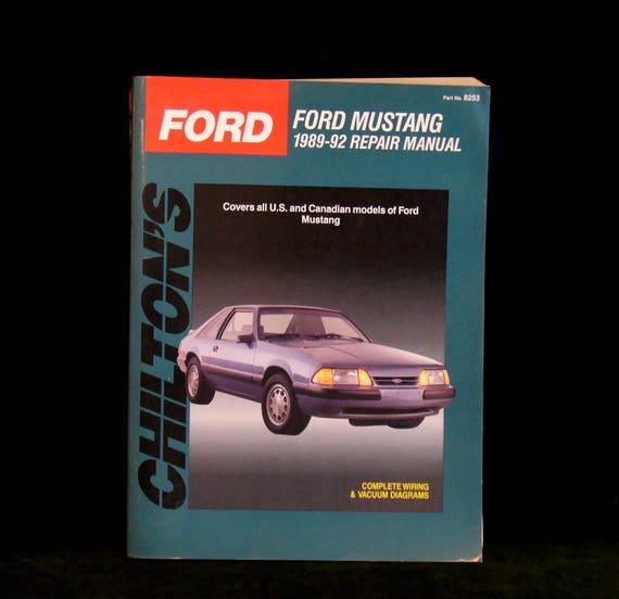 vintage chilton s ford mustang 1989 thru 1992 repair rh etsy com 1994 Mustang 1999 Mustang