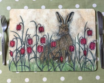 Hare and Fritillaries Placemats / Tablemats
