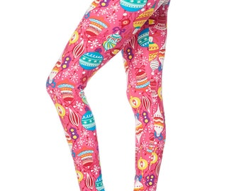 buttery soft pink christmas leggings plus size 16 20 - Plus Size Christmas Leggings