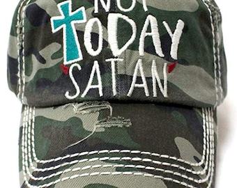 KBETHOS  Not Today Satan  Camo Hat 60ebb90a8ec8