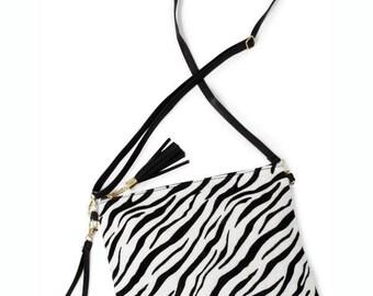 Navy zebra crossbody bag
