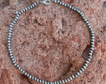 4mm Navajo Stone Choker Necklace With Turquoise Stone Drop