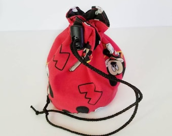 Mickey Mouse bag, Reversible dice bag, dice pouch, Bag of Holding, drawstring pouch, drawstring bag, card bag, small pouch, game bag