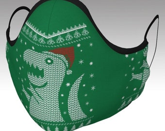 Ugly Sweater Santa T-Rex Face Mask - Face Cover, Ugly Sweater Face Mask, Dinosaur Face Mask