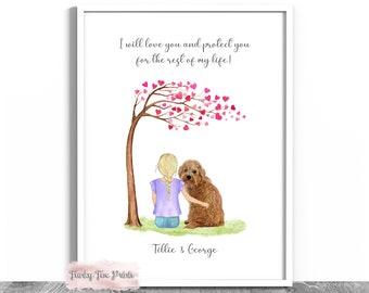 Little Girl & Her Dog Print   Little Boy And His Dog Print   Best Friends   Personalised Child's Birthday Gift