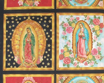 Virgin Lady of Guadalupe fabric panels, Nuestra Señora, Mary fabric, Inner Faith, religious fabric, gothic icon fabric, Virgin Mary fabric