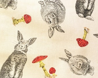 Rabbit fabric, rabbits & toadstools, bunny fabric, country fabric, animal fabric, cotton, linen look, by the metre, by the yard, fat quarter