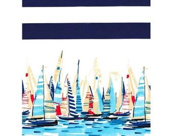 Border nautical fabric, boats fabric, Michael Miller, Regatta border, navy white stripe cotton, sailing fabric, seaside fabric, dress fabric