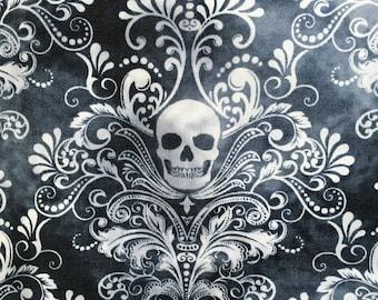 Skull fabric, Halloween fabric, Wicked, gothic fabric, Victorian fabric, spooky fabric, gothic clothing fabric, gothic style, black grey