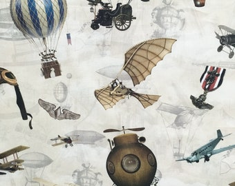 Steampunk fabric, flying machines fabric, planes, biplanes, balloons, canvas cotton, home fabric, Edwardian, Victorian, cushion curtain
