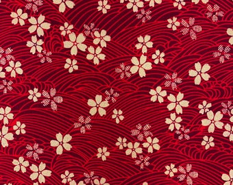 Floral fabric, oriental craft cotton, Japanese Chinese style cotton, red with gold metallic