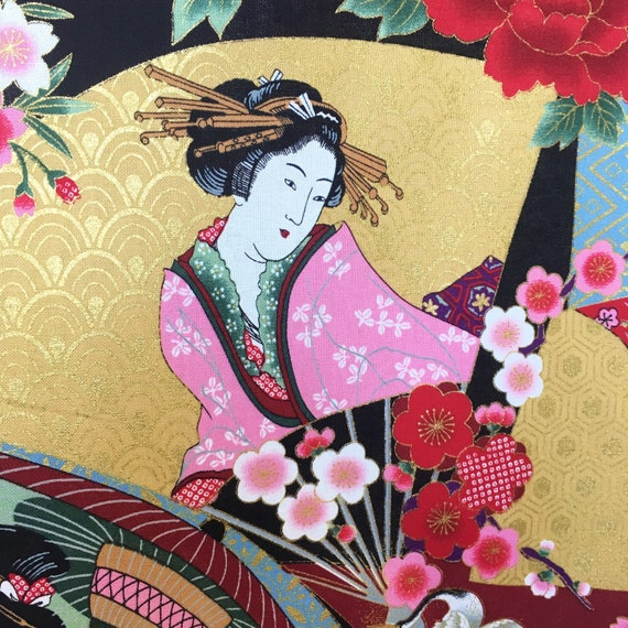 Los ventiladores Geisha Kimono japonés grúas Flores De Tela De Algodón Panel de acolchar Koi