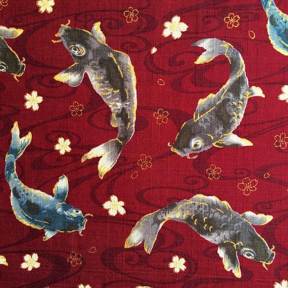 Japonés Negro Oro Rojo Metálico De Algodón Chino Tela de peces Oriental Carpa
