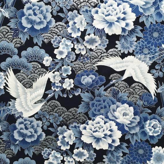 Japanese Import Fabric Crane and Flowers Cotton Multiple Sizes Black Kio
