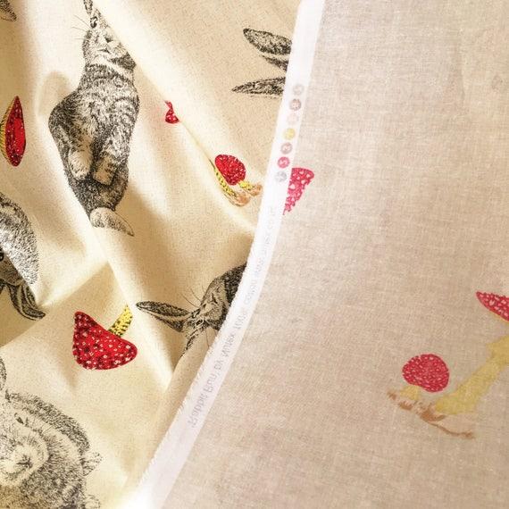 linen look Rabbit fabric bunny toadstools woodland animal fabric cotton