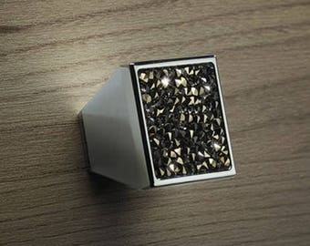 Rocks - Brass Drawer / Cabinet Knobs Collection with Crystal Insertion