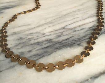 Vintage Gold Tone Disc Necklace / Bohemian Necklace / Gypsy Necklace