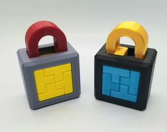 T Lock and T Lock 2 - 3D Printed Lock Puzzles - Rotation Required to Fully Solve