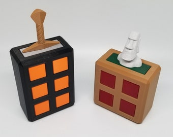 Locked Sword and Moai's Tomb - 3D Printed Puzzles