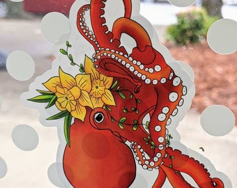 Octopus floral sticker cling for windows 3x3 inches
