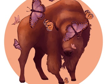 Buffalo with butterflies print 8x10