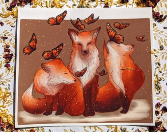 Fall Foxes and monarch butterfly print