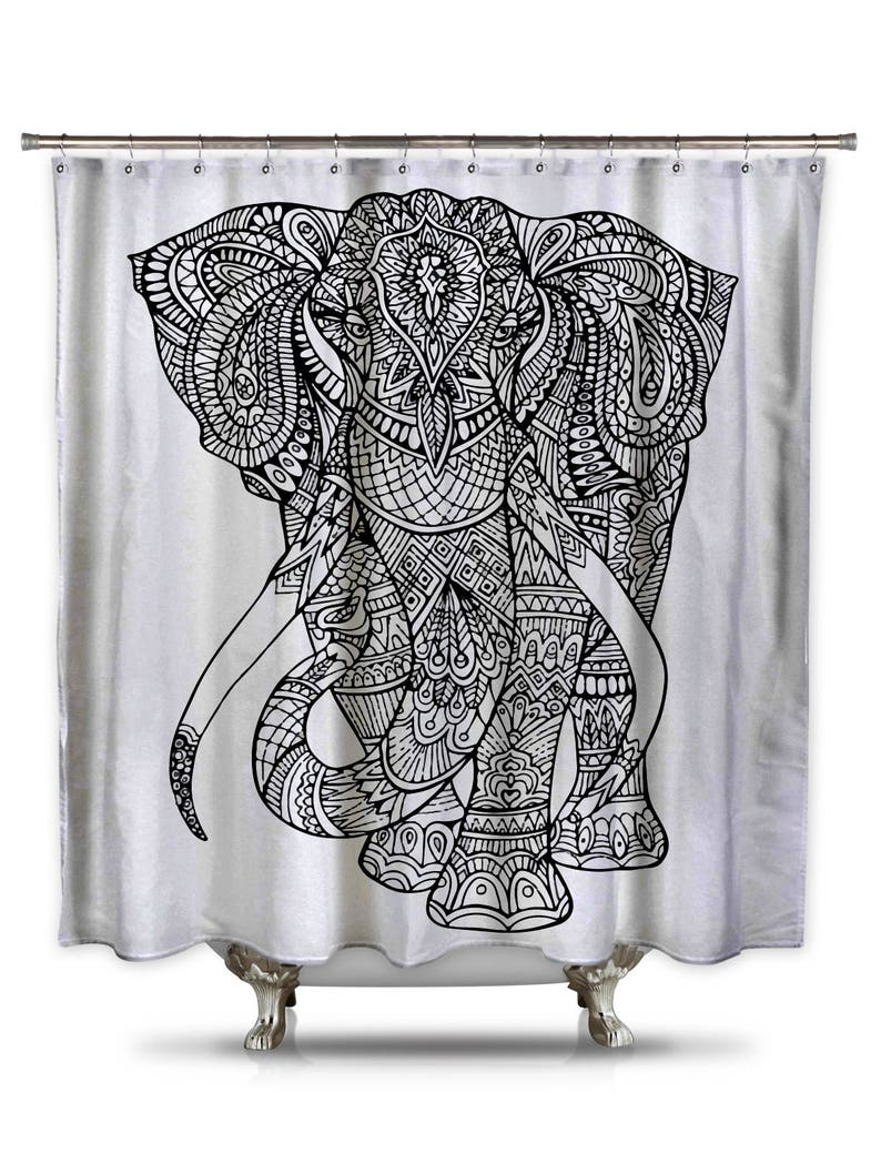 Black And White Elephant Shower Curtain Adult Coloring Book
