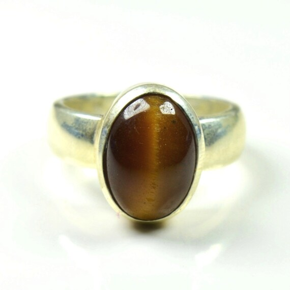 Real Hessonite Gold Plated Ring 6 Carat Stone Handcrafted Jewellery Size 4-13