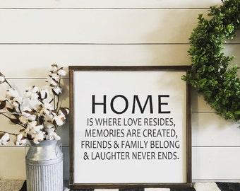 Home Is Where Love Resides Sign, Farmhouse, Farmhouse Decor