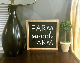Farm Sweet Farm Sign, Farmhouse Decor, Wood, Farmhouse