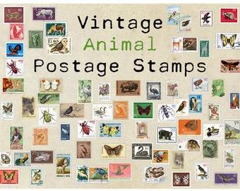 Digital Postage Stamps - Vintage Animals