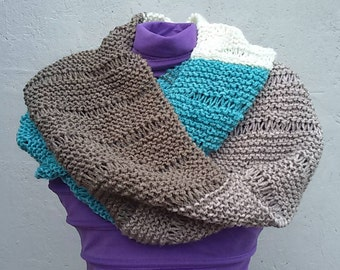 Infinity scarf in knit wool, beige, turquoise, white, hazelnut and brown, Hygge collection