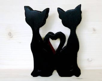 Black wooden cats-wooden furniture-home decor-gift idea