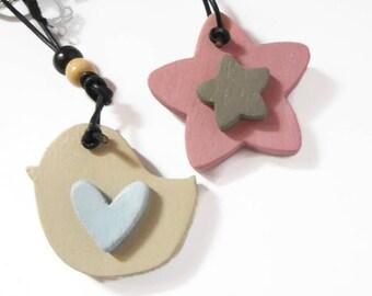 Colored wooden key ring, heart, star, bird-gift idea