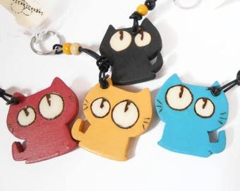 Colored wooden Cat keychain, burning-gift idea
