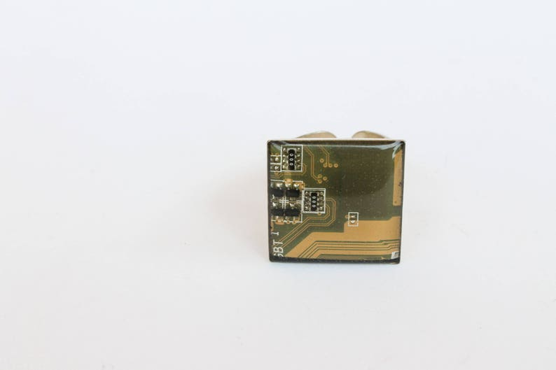 Computer ring recycled motherboard yellow ring gift for image 0