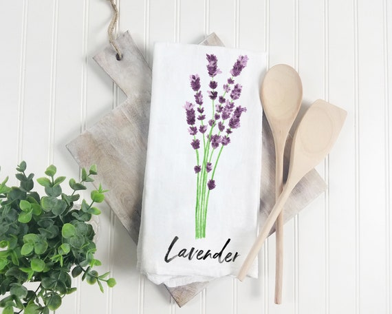 2 Rosemary /& Lavender Floral Herb Kitchen Dish Towels Green Cotton