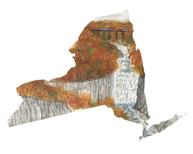 New York Watercolor Print New York Print New York State Art Home State pride NY art Letchworth State Park Print NY Shape Wall Art