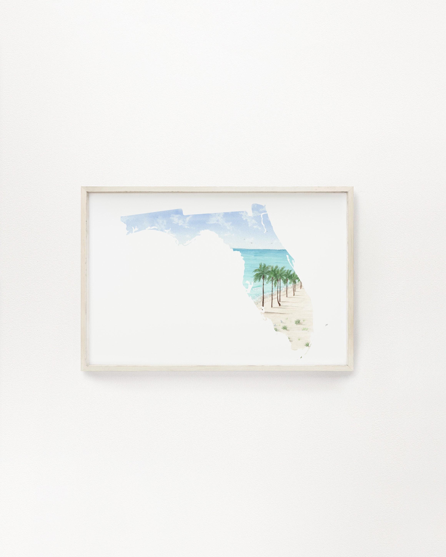 Housewarming Gift Watercolor State Map Pelicans Coastal Gift Beach House Flamingos Map of Florida Art Print Beach Gators Palm Trees