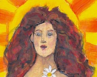 "Print Art | ""The Sun"" | Acrylic Painting Tarot Card Size Original Art Print available in 2.75"" x 4.75"" or 4"" x 6"""