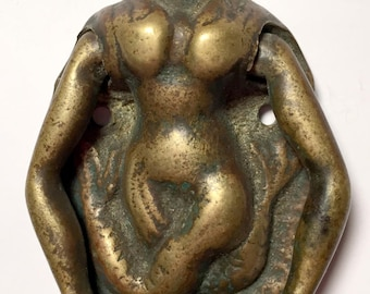 Antique Brass Door Knocker Of Mermaid