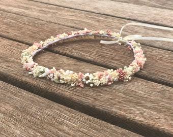 Thin and simple wildflower crown / Coronita de flores sencilla / Cream and baby pink flower crown / Adaptable flower crown