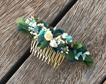 Boho preserved flower headpiece with turquoise details - Bridal headpiece - Tocado de novia de flores preservadas - Greenery headpiece