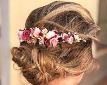 Preserved natural flower comb / bridal flower comb / preserved flower headpiece / Tocado de flores preservadas / Pink flower comb