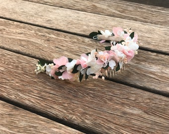 Preserved natural flower comb / White and light pink bridal flower comb / headpiece / Tocado de flores preservadas / Pink flower comb