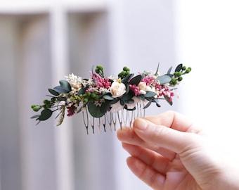 Boho preserved flower headpiece - Natural flower headpiece - Bridal headpiece - Tocado de novia de flores preservadas - Greenery headpiece