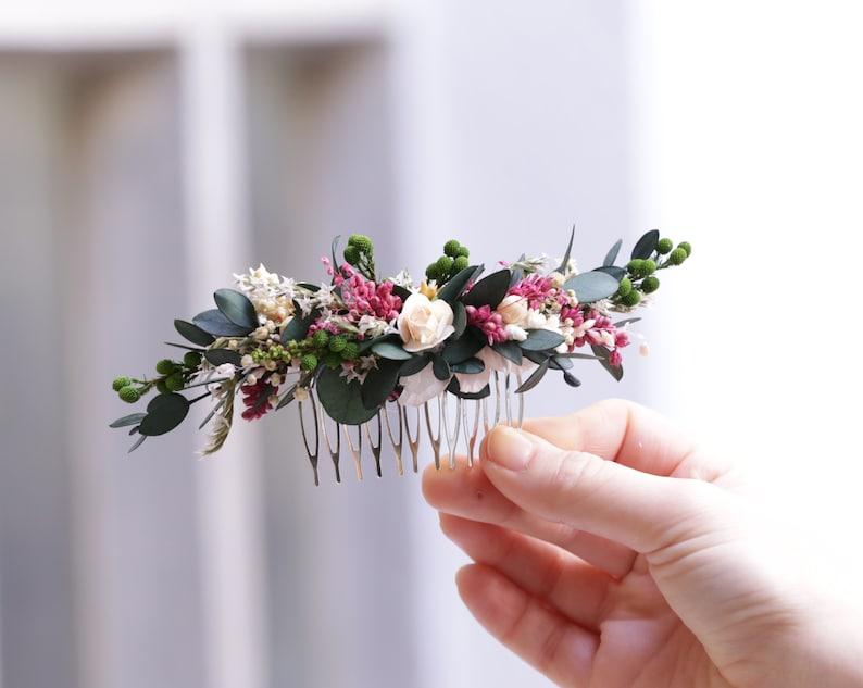Natural flower headpiece Boho preserved flower headpiece Tocado de novia de flores preservadas Greenery headpiece Bridal headpiece