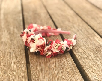 Preserved flower headband - Pink & coral shades - Flower crown in different pink and white colors